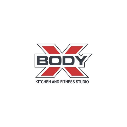 Body X kitchen and fitness studio logo design
