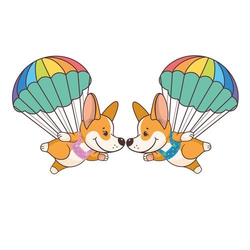 Corgis-parachutists