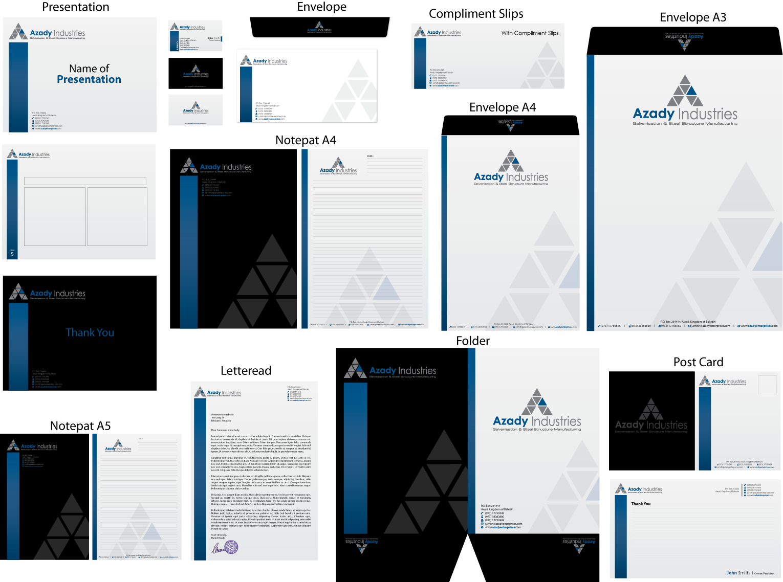 stationery for Azady Industries
