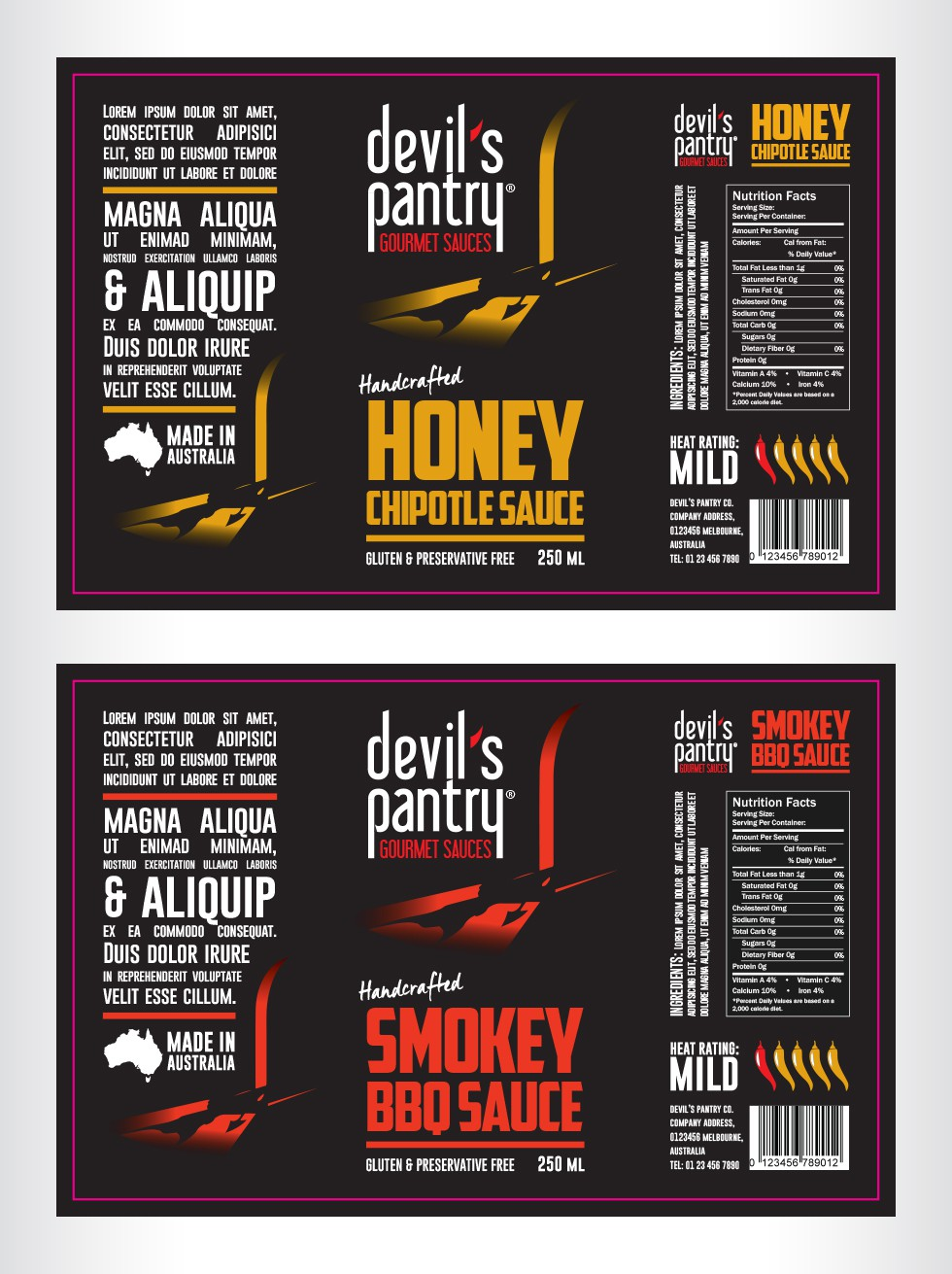 Design a BOLD & Sophisticated label for the Devil's Pantry condiment range.