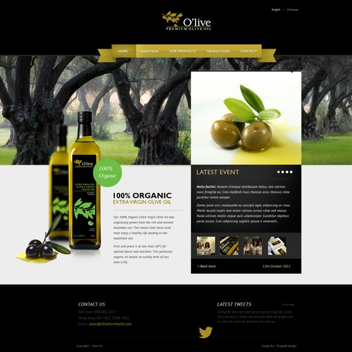 O'live Premium Olive Oil needs a new website design