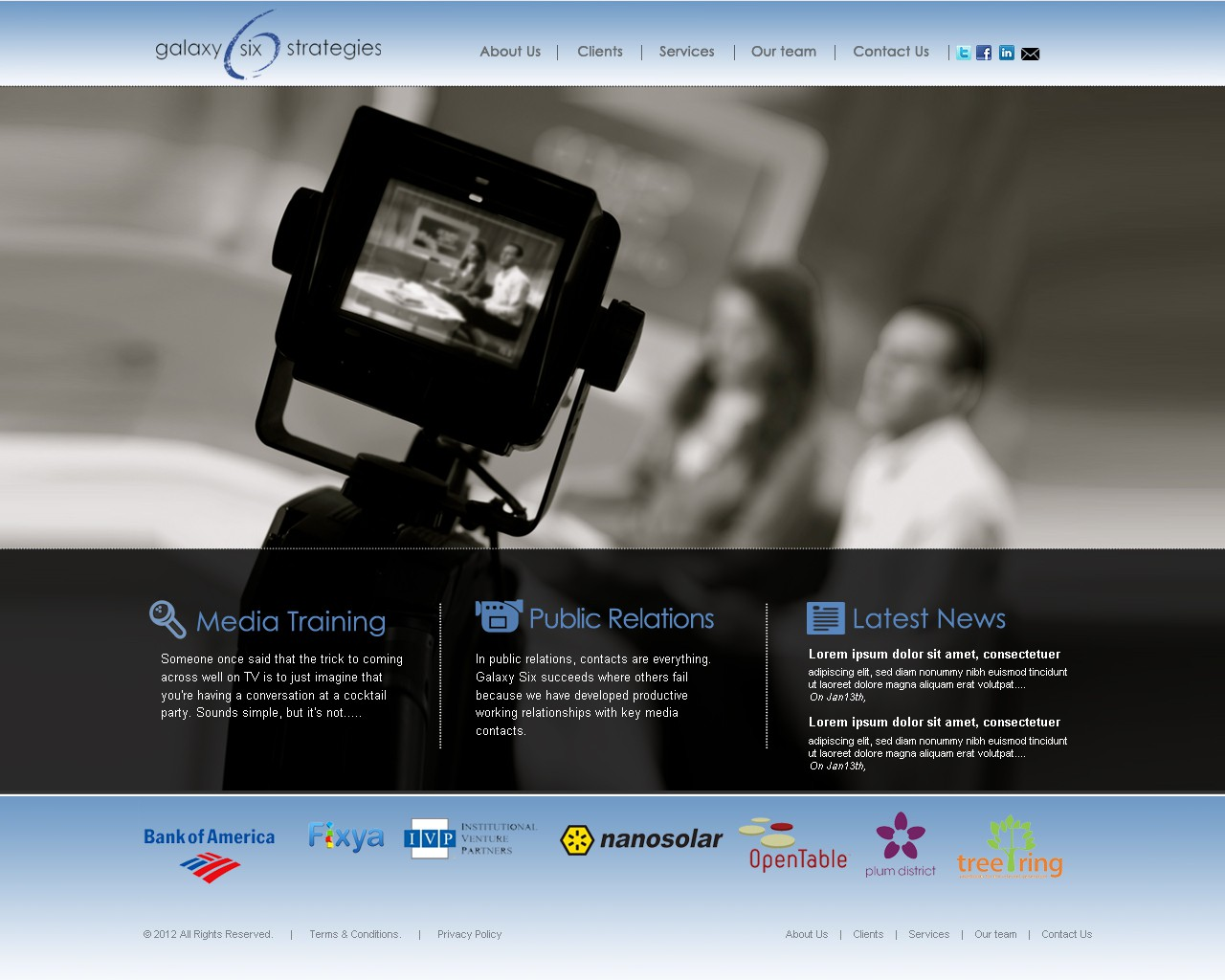 Modern, hip, classy site needed for media training firm