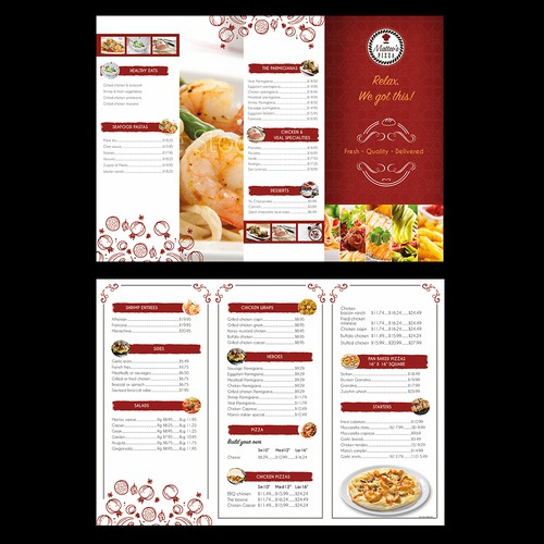 menu card designed for PIZZA restaurant