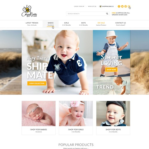 Baby Clothing Ecommerce Website Design