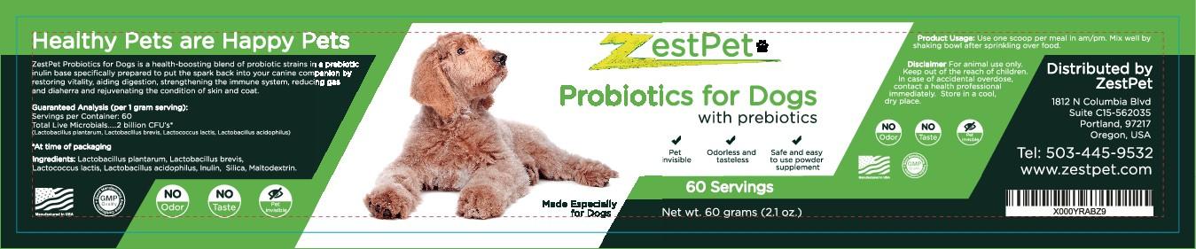 Product Label for ZestPet Probiotics for Dogs