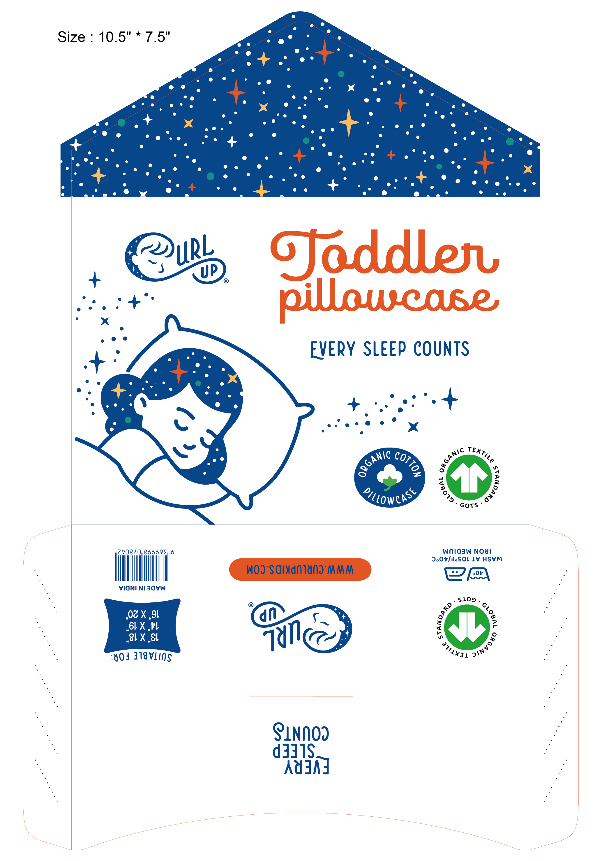Curl Up Pillowcase Packaging and Insert Design