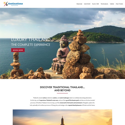 Landing Page For A Luxury Travel Tour To Thailand