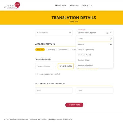 Responsive web app design for a professional translation company