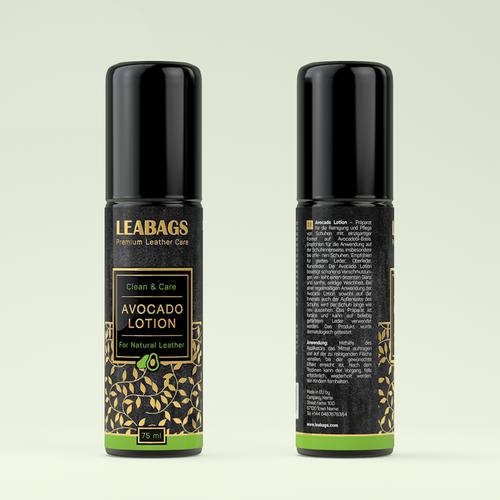 Label design for premium leather care avocado lotion