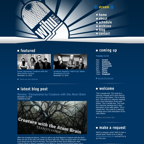 College Internet Radio Station Website & Blog