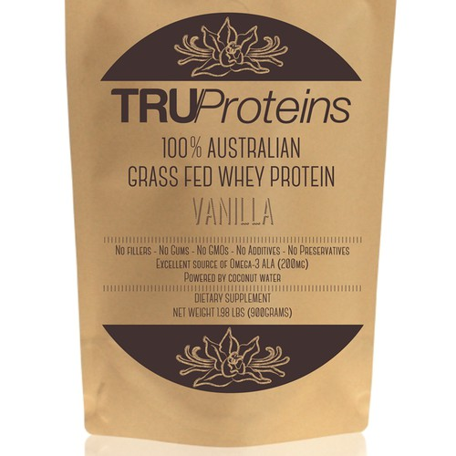 We need a simple, clean single color label for TruProteins product