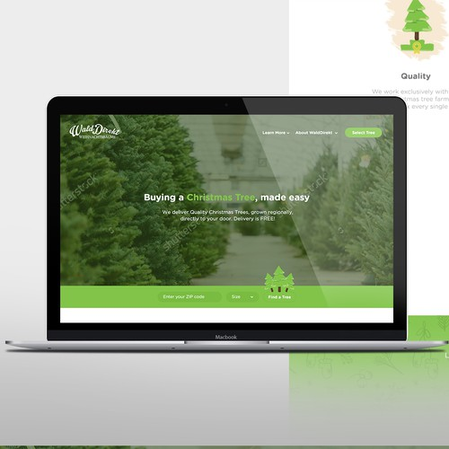 Illustrative & Funny homepage for Christmas tree delivery startup