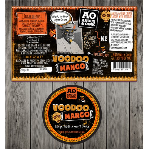 Product label for Angus & Oink
