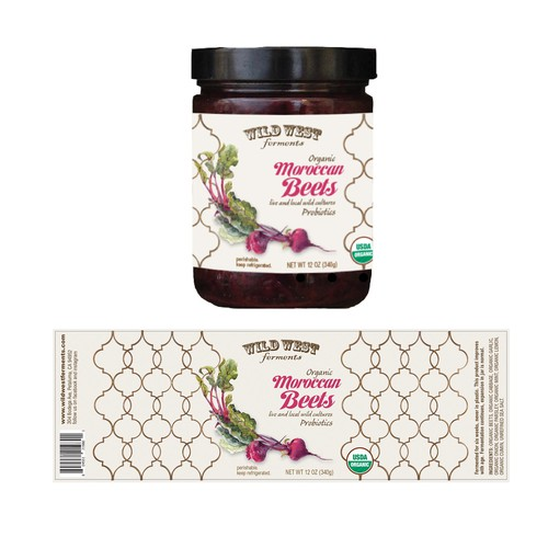 Vibrant label design  for Wild West Ferments Moroccan Beets