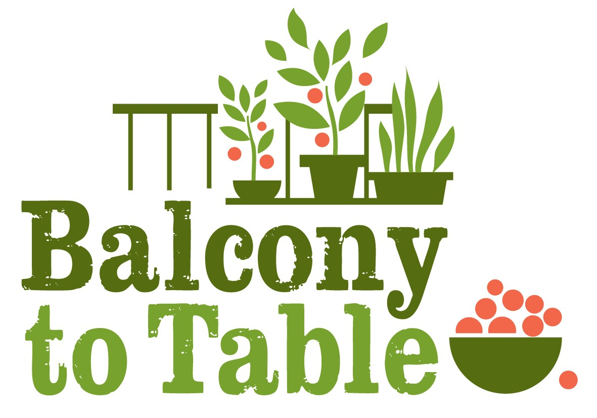 Create an interpretation of Balcony to Table for a blog and line of gardening products.