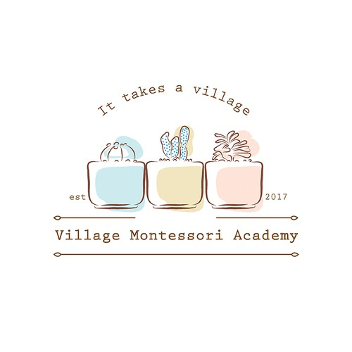 logo for village montessori academy