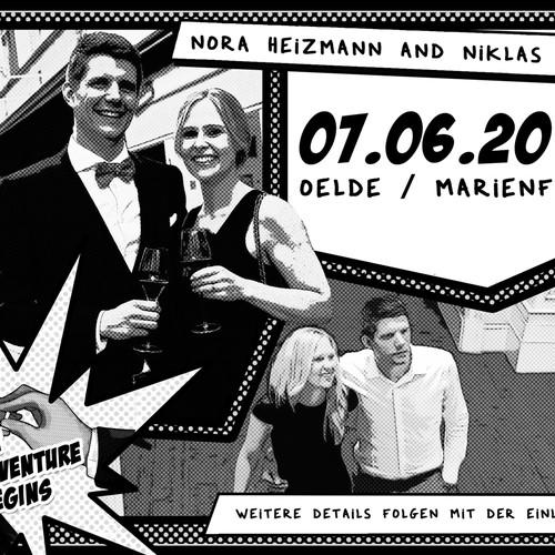 comic style wedding invitation