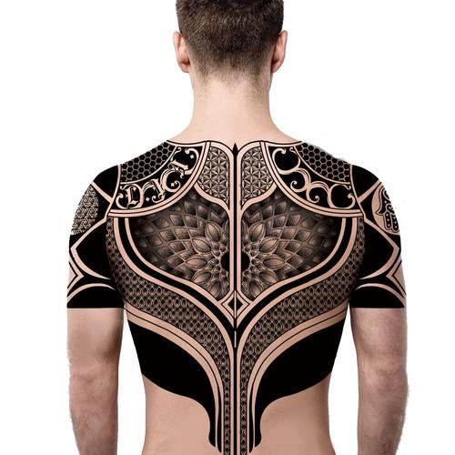 Body armour tattoo design with Judaism symbols.