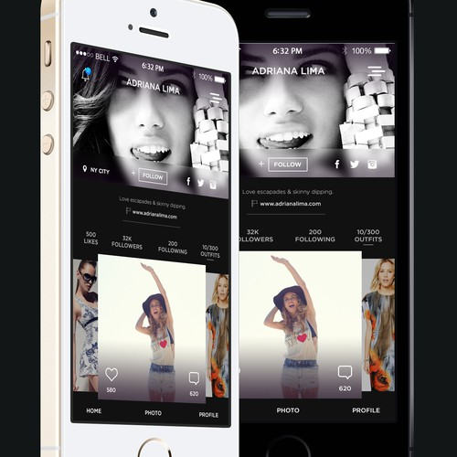 First two pages of a large mobile application - highly style conscious. Repeat work if won.