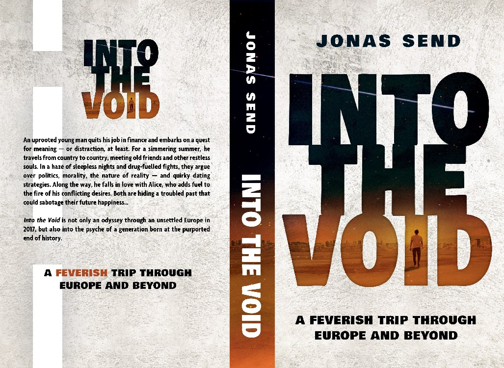 Design an Aesthetic Book Cover for 'Into the Void' - A feverish trip through Europe and beyond