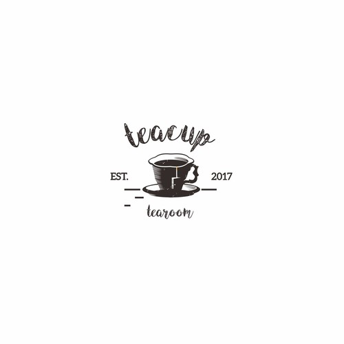 Vintage logo for teacup tearoom
