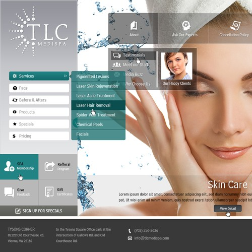 Design a sophisticated website that makes people feel like TLC Medispa is where they want to be.