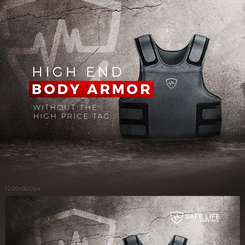 Powerful banner for a body armor manufacturer.