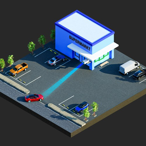Smart Parking Camera 3D isometric Illustration