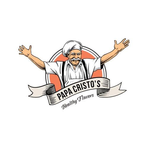papa cristos concept logo