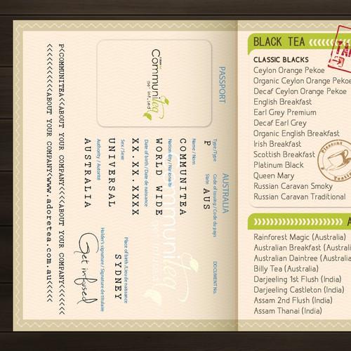 Cool new 'passport' menu design needed for Adore Tea
