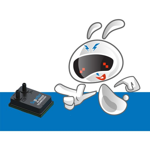 high-tech bunny mascot