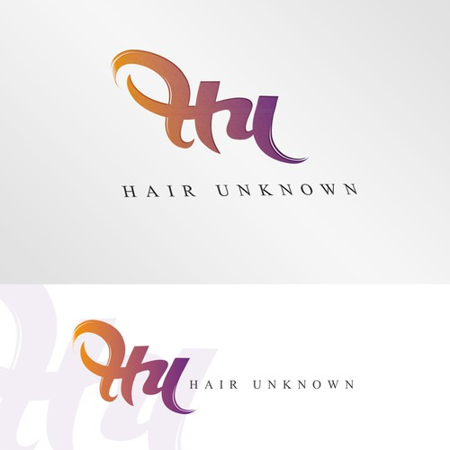 Typography hair logo concept