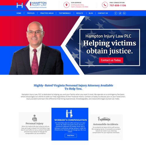 Hampton Injury Law PLC - Landing Page