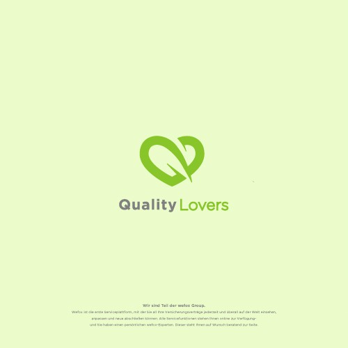 Love Shape, Q letter and Fox Tail Concept Logo Design for Quality Lovers (Wefox Group)