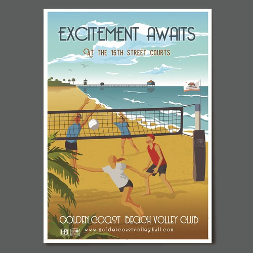 Stunning retro poster to advertise a beach volleyball club