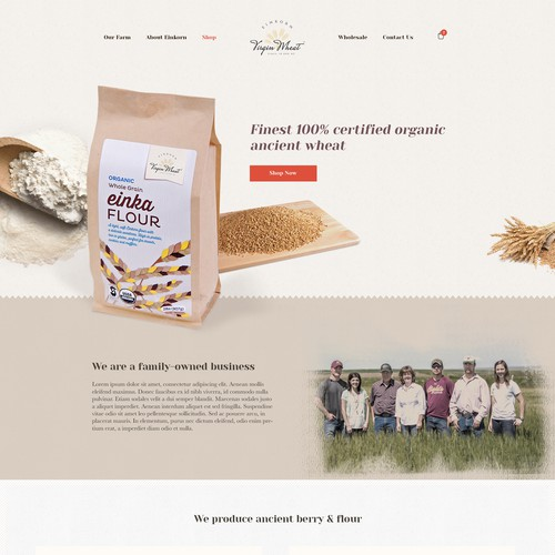 Homepage design of Einkorn [ancient wheat] manufacturing business