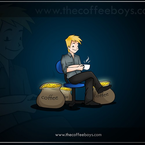 Simple cartoon to illustrate a new customer for a coffee shop
