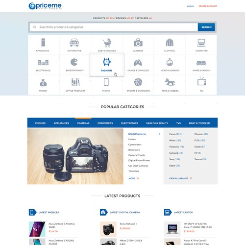 New homepage for popular Price Comparison site