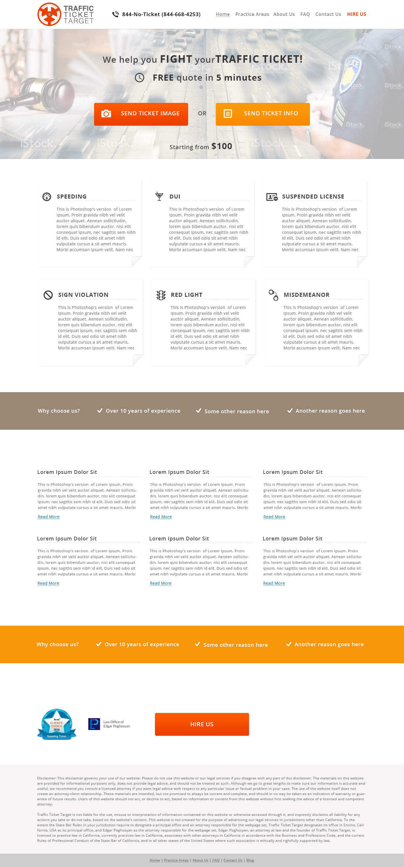 Landing page for a law firm