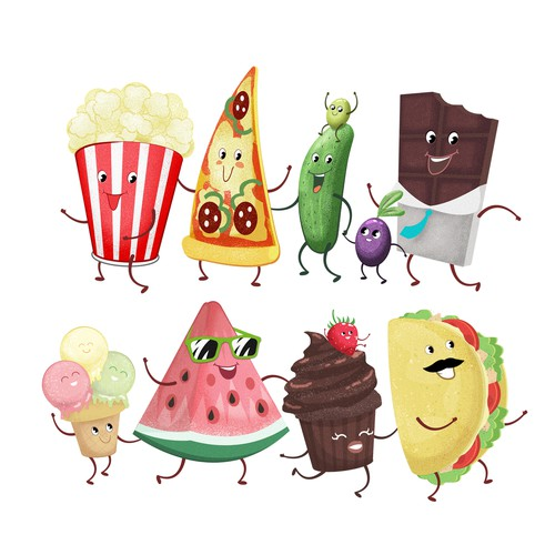 Fun snack food characters illustration