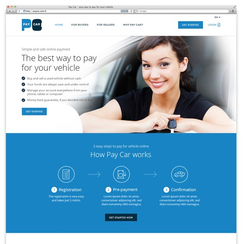 Create a Website design for a paypal competitor for used cars andmotor bikes (price is guaranteed)