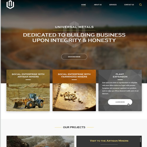 Website redesign for Universal Metals