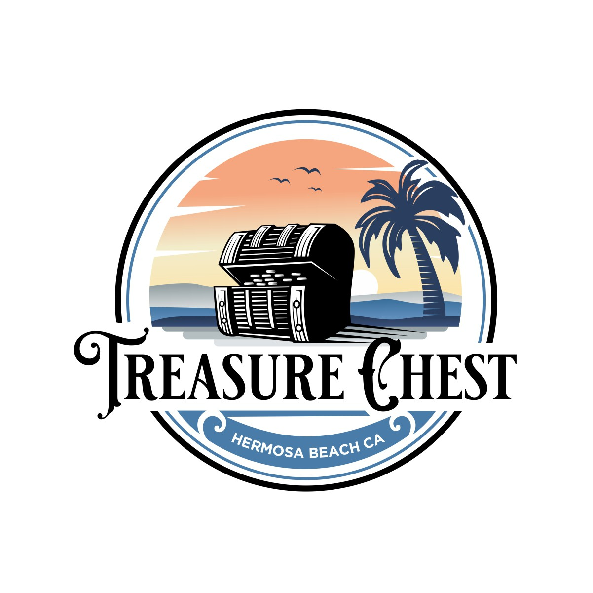 T-shirt Gift shop Novelty store on the beach needs a logo. Treasure Chest