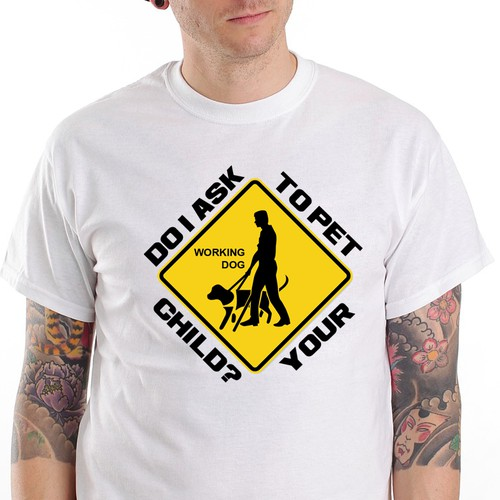 "Guide Dog/Service Animal (NO PETTING) t-Shirt, ""Do I ask to pet your child?"""