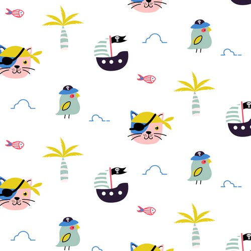 Pirate fun pattern for baby brand