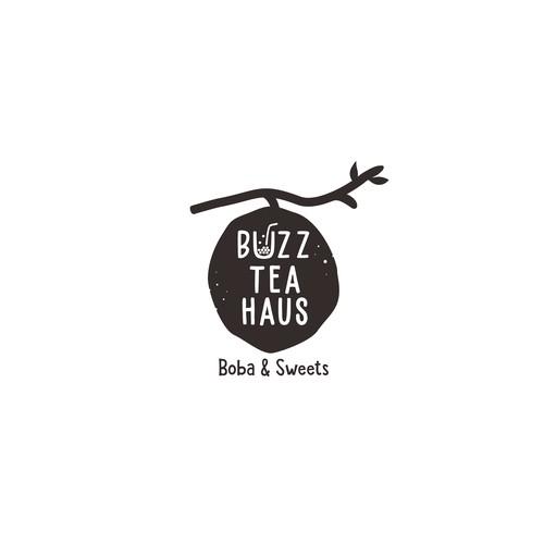 Black and White Logo for Buzz Tea Haus