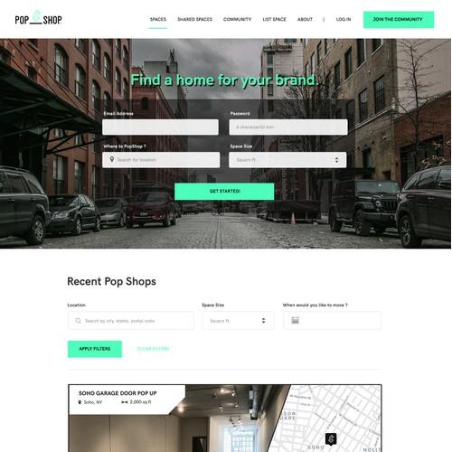 Web design for a pop shop service