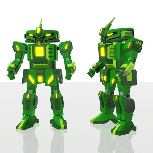 3D model of a gundam-style robot for the target group children up to 10 years