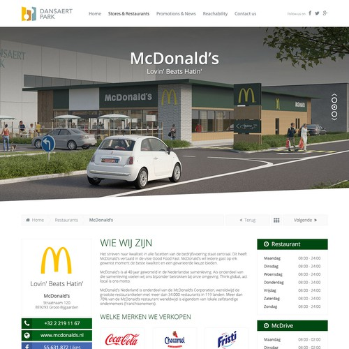 Retail park 'Dansaertpark' (Brussels-Belgium): design the look & feel of the website!