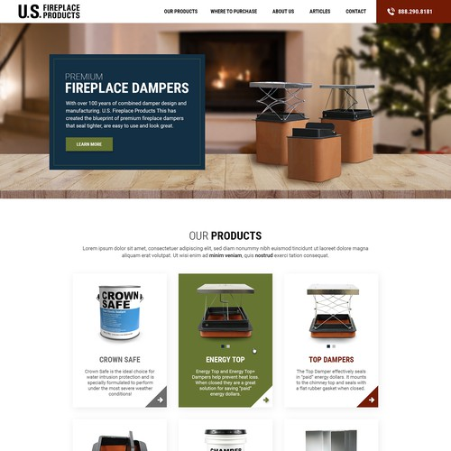 Homepage redesign for US Fireplace Products